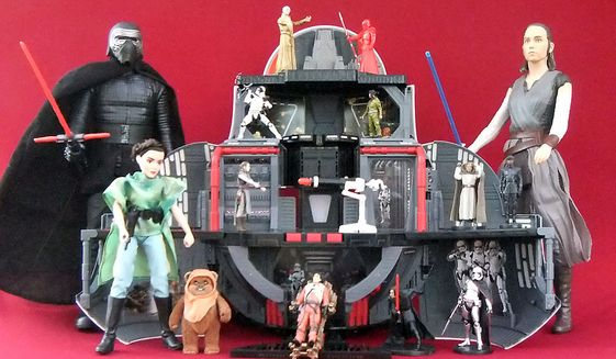 """Gift ideas for 'Star Wars' fans include Big-Figs Rey and Kylo Ren, Gen. Leia Organa and Wicket in Endor Adventure, BB-8 2-In-1 Mega Playset with Force-Linked Snoke, Rey and Poe Dameron and """"Star Wars: The Last Jedi"""" Deluxe Figure featuring Luke Skywalker. (Photograph by Joseph Szadkowski / The Washington Times)"""