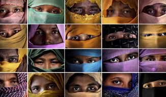 This combo photo comprises of portraits of some of the Rohingya Muslim women taken during an interview with The Associated Press in November 2017 in Kutupalong and Gundum refugee camp in Bangladesh. They said they were raped by members of Myanmar's armed forces. The use of rape by Myanmar's armed forces has been sweeping and methodical, the AP found in interviews with 29 Rohingya Muslim women and girls now in Bangladesh. They were interviewed separately, come from a variety of villages in Myanmar and now live spread across several refugee camps in Bangladesh. The military has denied its soldiers raped any Rohingya women. (AP Photo/Wong Maye-E)