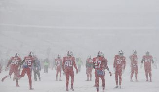 The Buffalo Bills warm-up in near white-out conditions before an NFL football game between the Buffalo Bills and the Indianapolis Colts, Sunday, Dec. 10, 2017, in Orchard Park, N.Y. (AP Photo/Seth Wenig)