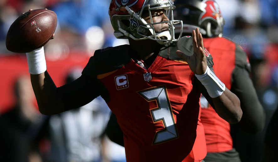 Tampa Bay Buccaneers quarterback Jameis Winston (3) throws a pass against the Detroit Lions during the first half of an NFL football game Sunday, Dec. 10, 2017, in Tampa, Fla. (AP Photo/Jason Behnken)