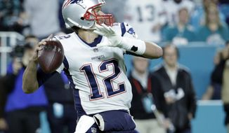 New England Patriots quarterback Tom Brady (12) looks to pass, during the first half of an NFL football game against the Miami Dolphins, Monday, Dec. 11, 2017, in Miami Gardens, Fla. (AP Photo/Lynne Sladky)