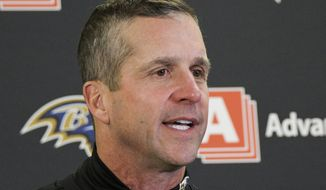 Baltimore Ravens head coach John Harbaugh talks with reporters following an NFL football game against the Pittsburgh Steelers in Pittsburgh, Monday, Dec. 11, 2017. The Steelers won 39-38. (AP Photo/Don Wright)