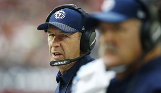 Tennessee Titans head coach Mike Mularkey paces on the sidelines during the second half of an NFL football game against the Arizona Cardinals, Sunday, Dec. 10, 2017, in Glendale, Ariz. (AP Photo/Ralph Freso)