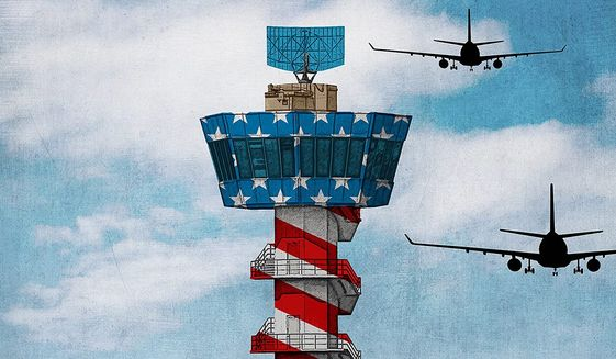 Secure Air Traffic Control Illustration by Greg Groesch/The Washington Times