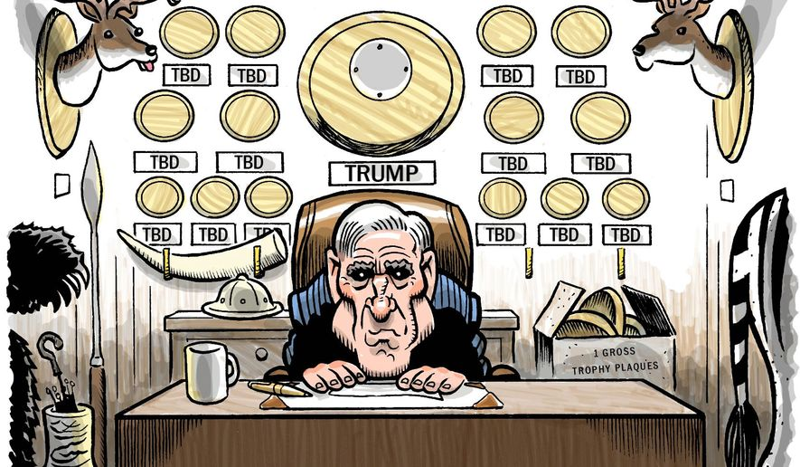 Illustration on the Mueller investigation by Alexander Hunter/The Washington Times