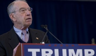 Sen. Chuck Grassley, R-Iowa, speaks during a campaign event for Republican presidential candidate Donald Trump at Central College, Saturday, Jan. 23, 2016, in Pella, Iowa. (AP Photo/Mary Altaffer)