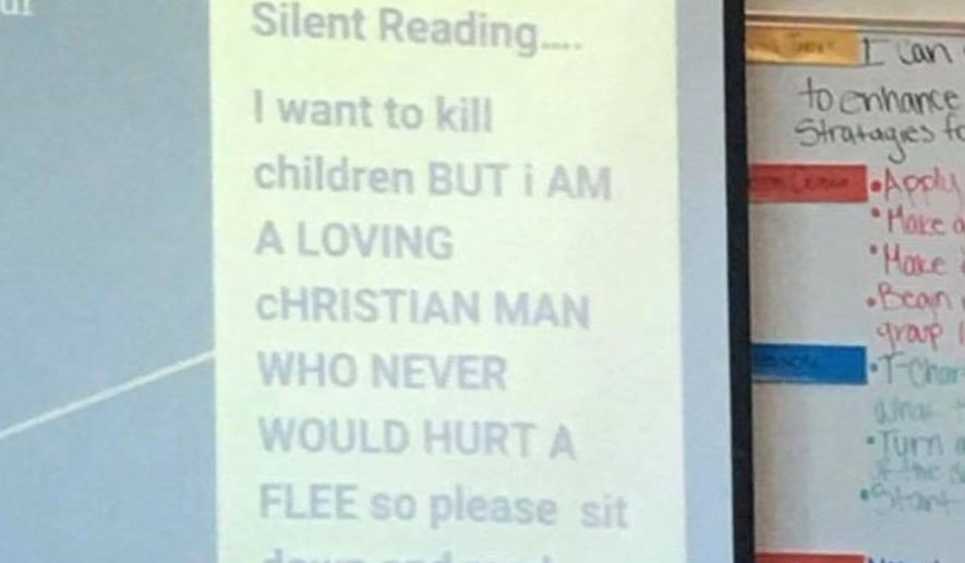 "Kris Burghart, an eighth-grade teacher at Otho E. Stuart Middle School in Commerce City, Colorado, has resigned after he posted the message, ""I want to kill children,"" on a projector screen in class. (KDVR)"