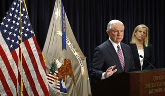 Attorney General Jeff Sessions, left, speaks alongside Secretary of Homeland Security Kirstjen Nielsen during a news conference in Baltimore, Tuesday, Dec. 12, 2017, to announce efforts to combat the MS-13 street gang with law enforcement and immigration actions. (AP Photo/Patrick Semansky)