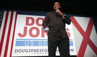 Former NBA player Charles Barkley speaks during a rally for Democratic candidate for U.S. Senate Doug Jones, Monday, Dec. 11, 2017, in Birmingham, Ala. Jones is facing Republican Roy Moore. (AP Photo/John Bazemore)