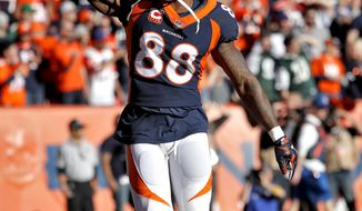 FILE - In this Dec. 10, 2017, file photo, Denver Broncos wide receiver Demaryius Thomas (88) celebrates his touchdown against the New York Jets during the first half of an NFL football game, in Denver.Thomas is coming off his best game in more than a year _ eight catches for 93 yards and a touchdown in Denver's 23-0 shutout of the Jets on Sunday. (AP Photo/Jack Dempsey)