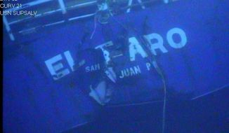 FILE - This undated image made from a video released April 26, 2016, by the National Transportation Safety Board shows the stern of the sunken ship El Faro. Federal accident investigators on Tuesday, Dec. 12, will determine the probable cause of the sinking of the cargo ship, the worst maritime disaster for a U.S.-flagged vessel in decades that resulted in the deaths of 33 mariners.  (National Transportation Safety Board via AP, File)