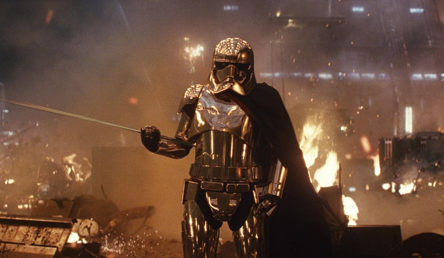 """This image released by Lucasfilm shows Gwendoline Christie as Capt. Phasma in """"Star Wars: The Last Jedi."""" (Lucasfilm via AP)"""