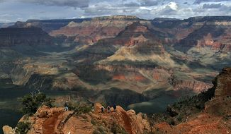FILE - This Feb. 22, 2005, file photo shows the North Rim of Grand Canyon in Arizona. A federal appeals court ruling keeps in place an Obama administration ban on new hard-rock mining claims around the Grand Canyon. (AP Photo/Rick Hossman,File)