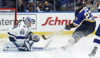 St. Louis Blues' Dmitrij Jaskin, right, of Russia, is unable to score past Tampa Bay Lightning goalie Andrei Vasilevskiy, left, of Russia, during the second period of an NHL hockey game Tuesday, Dec. 12, 2017, in St. Louis. (AP Photo/Jeff Roberson)