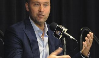 FILE - In this Oct. 3, 2017, file photo, Miami Marlins part owner Derek Jeter speaks during a press conference in Miami. Jeter is trying to revive a moribund Marlins franchise, and so far the former New York Yankees captain appears out of his league as a CEO. (Taimy Alvarez/South Florida Sun-Sentinel via AP, File)