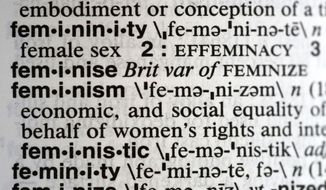 """This Monday, Dec. 11, 2017, photo taken in New York shows the word feminism listed in the dictionary. Merriam-Webster has revealed """"feminism"""" as its word of the year for 2017 on Tuesday, Dec. 12. (AP Photo/Peter Morgan)"""