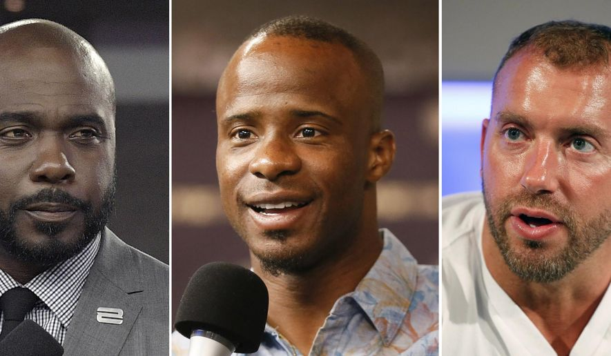 "FILE - At left, in an Oct. 5, 2017, file photo, Marshall Faulk broadcasts from the field after an NFL football game against the Tampa Bay Buccaneers, in Tampa, Fla.  At center, in a Sept. 9, 2015, file photo, NFL Network's Ike Taylor is interviewed during a media availability on set at the NFL Network studios, in Culver City, California. At right in a Sept. 9, 2015, file photo, NFL Network's Heath Evans is interviewed during a media availability on set at the NFL Network studios, in Culver City, Calif. Hall of Fame player Marshall Faulk and two other NFL Network analysts have been suspended after a former employee alleged sexual misconduct in a lawsuit. NFL spokesman Brian McCarthy on Tuesday, Dec. 12, 2017,  identified the three as Faulk, Ike Taylor and Heath Evans. He says they have been ""suspended from their duties at NFL Network pending an investigation into these allegations."" (AP Photo/File)"