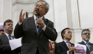 FILE - In this Nov. 14, 2016, file photo, San Francisco Mayor Ed Lee speaks during a meeting at City Hall in San Francisco by city leaders and community activists to reaffirm the city's commitment to being a sanctuary city in response to Donald Trump's support of deportations and other measures against immigrants. The San Francisco Chronicle reported that Lee died early Tuesday, Dec. 12, 2017. He was 65. (AP Photo/Jeff Chiu, File)