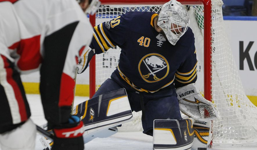 Buffalo Sabres goalie Robin Lehner (40) makes a save during the second period of an NHL hockey game against the Ottawa Senators, Tuesday Dec. 12, 2017, in Buffalo, N.Y. (AP Photo/Jeffrey T. Barnes)