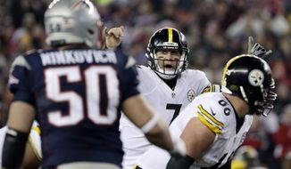 FILE - In this Jan. 22, 2017, file photo, Pittsburgh Steelers quarterback Ben Roethlisberger (7) calls a play at the line of scrimmage during the second half of the AFC championship NFL football game against the New England Patriots in Foxborough, Mass. The Steelers can finally talk about the Patriots. More than 10 months after a blowout loss to New England in the AFC championship game, the Steelers believe they're better equipped to handle the Super Bowl champions this time around. (AP Photo/Matt Slocum, File)