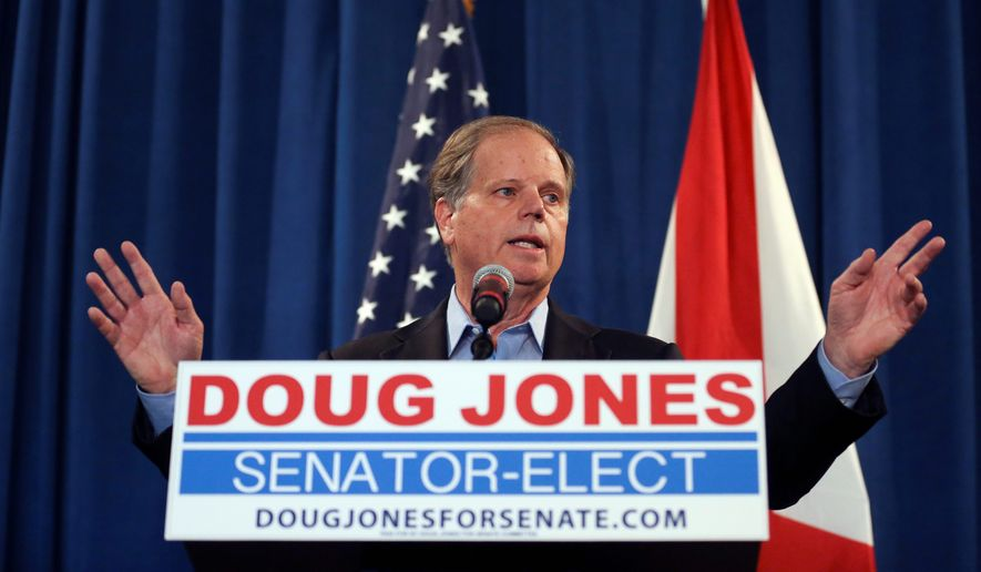 Senator-elect Doug Jones, Alabama Democrat, said his goal is to find common ground between the two parties, saying it's the healthiest way to get things done for his constituents. Improving health care will be one early priority. (Associated Press) **FILE**