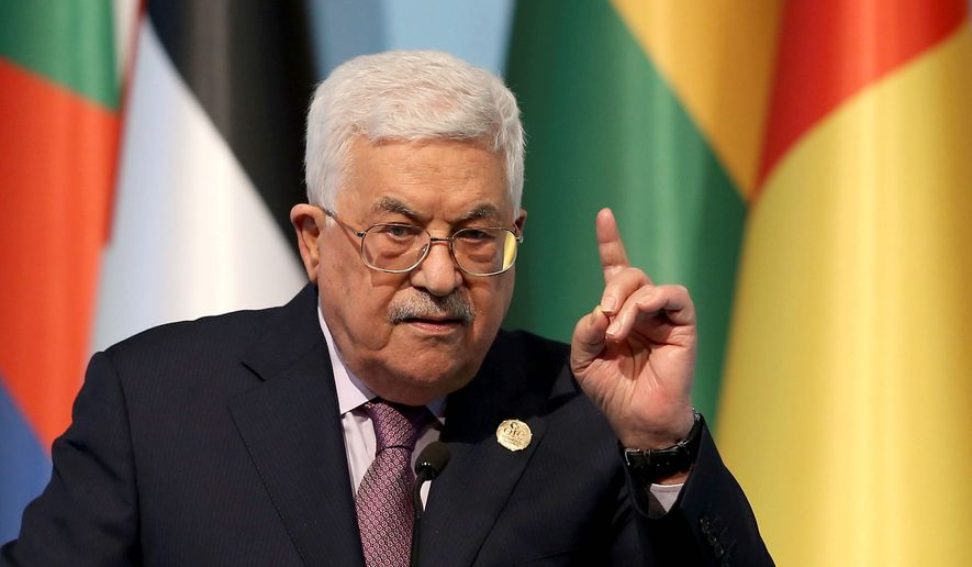 Palestinian Authority President Mahmoud Abbas, at the Organization of Islamic Cooperation summit in Istanbul, threatened to remove the U.S. from the Middle East peace process because of President Trump's decision to declare Jerusalem as Israel's capital. (Associated Press) **FILE**
