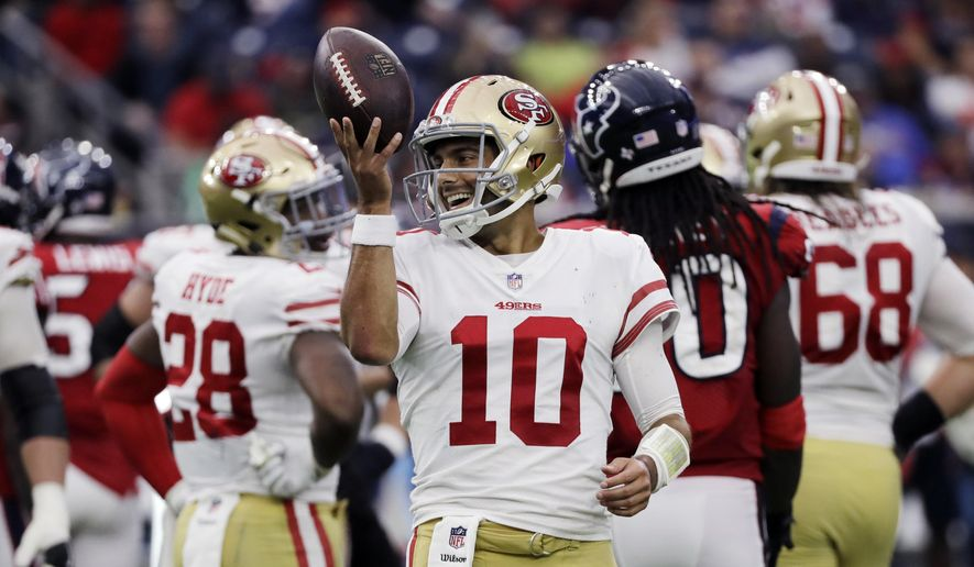 FILE - In this Dec. 10, 2017, file photo, San Francisco 49ers quarterback Jimmy Garoppolo (10) smiles after a play during the second half of an NFL football game against the Houston Texans, in Houston. After two straight wins on the road, Garoppolo gets ready for his first home start  with the 49ers. (AP Photo/David J. Phillip, File)