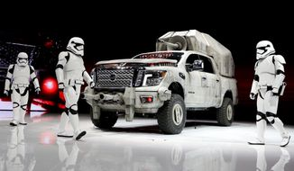"Nissan is marketing its ""Star Wars""-themed Titan custom truck. (Associated Press/File)"