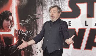 Mark Hamill poses for photographers at the photo call for the film 'Star Wars: The Last Jedi' in London, Wednesday, Dec. 13th, 2017. (Photo by Joel C Ryan/Invision/AP)