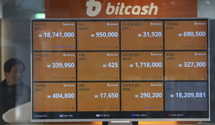 A screen shows the prices of bitcoin at a virtual currency exchange office in Seoul, South Korea, Wednesday, Dec. 13, 2017. South Korean is studying ways to regulate speculative trading in crypto currencies as the latest surge in prices stokes a craze over bitcoins. (AP Photo/Ahn Young-joon)