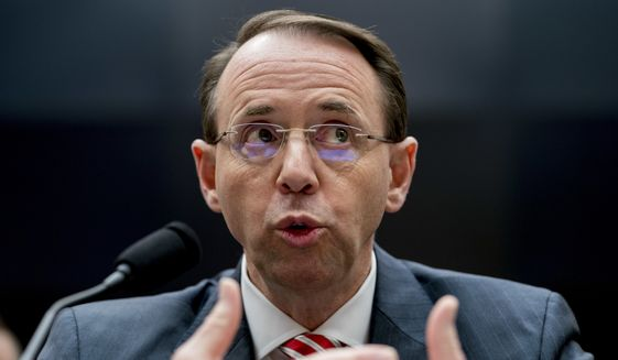 Deputy Attorney General Rod Rosenstein told a House committee that special counsel Robert Mueller took quick action to oust FBI counterintelligence official Peter Strzok from the Russia investigation after learning of his politically biased text messages. (Associated Press) ** FILE**