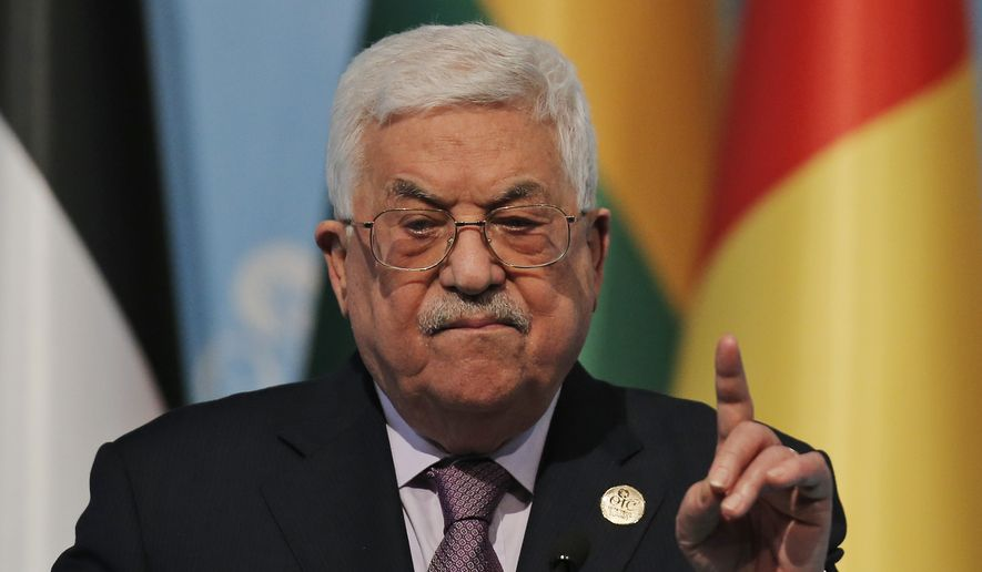 Palestinian President Mahmoud Abbas gestures as he talks during the closing news conference following the Organisation of Islamic Cooperation's Extraordinary Summit in Istanbul, Wednesday, Dec. 13, 2017. Muslim nations of the 57-member Organisation of Islamic Cooperation had rejecting U.S. President Donald Trump's declaration of Jerusalem as the capital of Israel, and appear set to counter it with a declaration of east Jerusalem as the capital of a future Palestinian state. (AP Photo/Emrah Gurel)