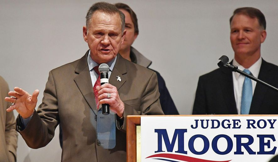 U.S. Senate candidate Roy Moore speaks at the end of an election-night watch party at the RSA activity center, Tuesday, Dec. 12, 2017, in Montgomery, Ala. Moore didn't concede the election to Democrat Doug Jones. (AP Photo/Mike Stewart)