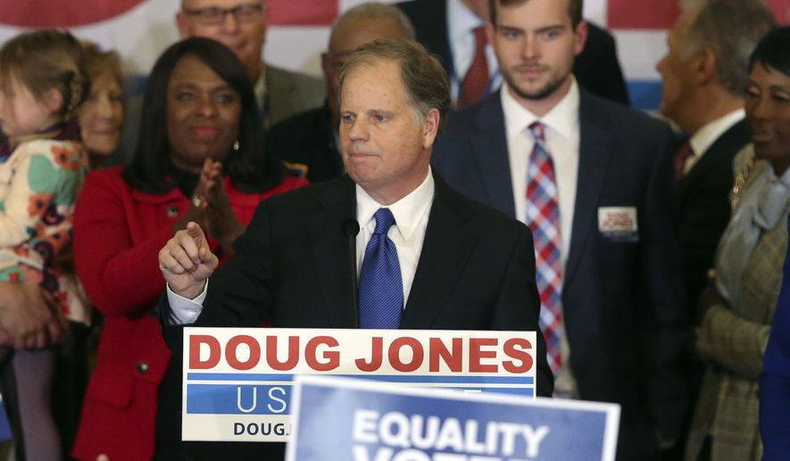 Democrat Doug Jones speaks Tuesday, Dec. 12, 2017, in Birmingham, Ala. (AP Photo/John Bazemore) ** FILE **