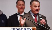 """U.S. Senate candidate Roy Moore speaks at the end of an election-night watch party at the RSA activity center, Tuesday, Dec. 12, 2017, in Montgomery, Ala. Moore refused to concede and raised the possibility of a recount during a brief appearance at a somber campaign party in Montgomery. """"It's not over,"""" Moore said. He added, """"We know that God is still in control."""" (AP Photo/Mike Stewart)"""
