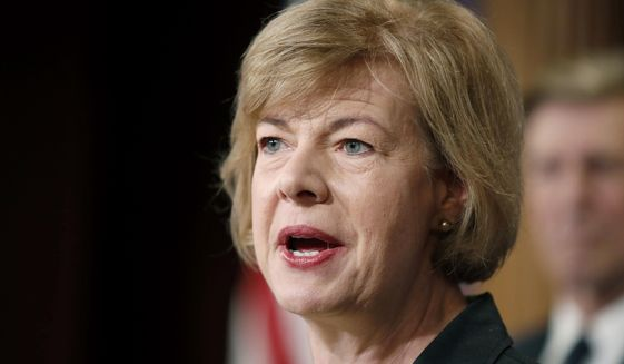 In this April 25, 2017, file photo, Sen. Tammy Baldwin, D-Wis., speaks on Capitol Hill in Washington. (AP Photo/Alex Brandon, File)