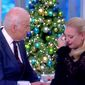 "ABC co-host Meghan McCain shared an emotional moment with former Vice President Joe Biden on ""The View"" Monday morning after she broke down while discussing her father's brain cancer diagnosis. (ABC)"