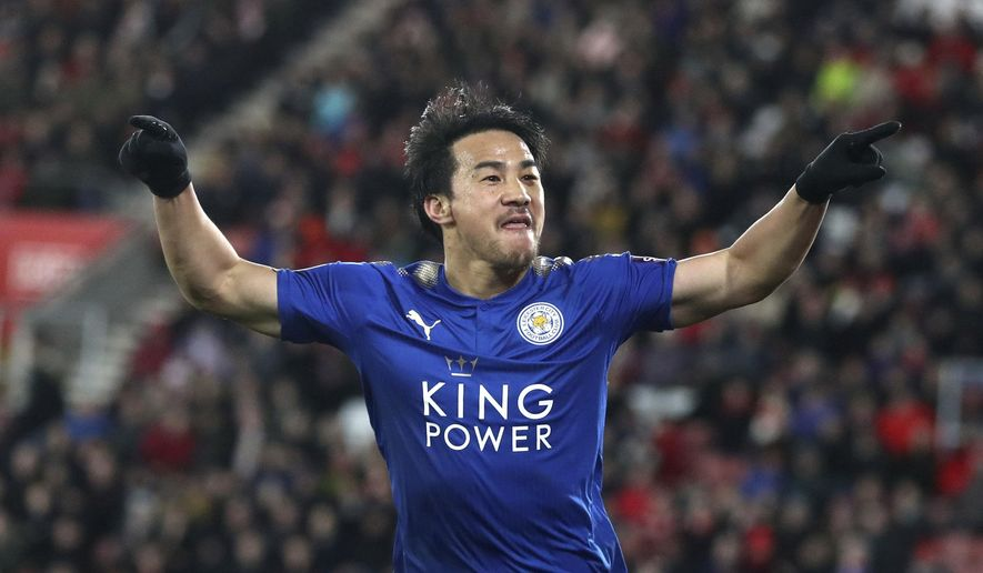 Leicester City's Shinji Okazaki celebrates scoring his side's fourth goal of the game,  during the English Premier League soccer match between Southampton and Leicester City at St Mary's Stadium, in Southampton, England, Wednesday, Dec. 13, 2017.  (Adam Davy/PA via AP)