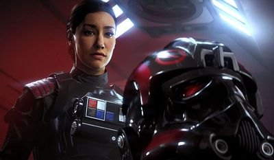 The Inferno Squad Iden Versio fights the Rebellion and the Empire in Electronic Arts' Star Wars Battlefront II: Elite Trooper Deluxe Edition.