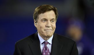 In this Nov. 10, 2016, file photo, sportscaster Bob Costas sits on a stage before an NFL football game between the Baltimore Ravens and the Cleveland Browns, in Baltimore. (AP Photo/Gail Burton) ** FILE **