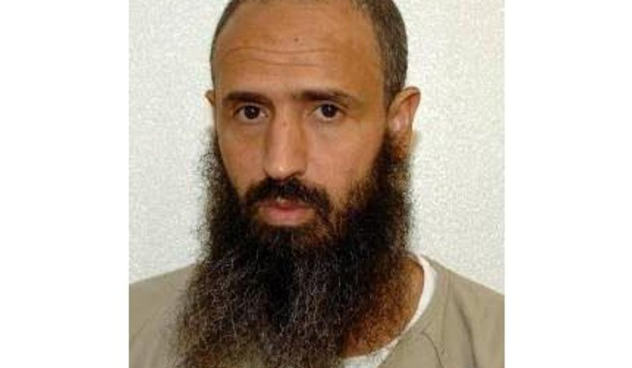 In this undated photo released by lawyer Shelby Sullivan-Bennis on Dec. 11, 2017 shows his client Abdellatif Nasser at the Guantanamo Bay detention center in Guantanamo Bay, Cuba. A diplomatic agreement that would have allowed Nasser to go free was not returned by Morocco until Dec. 28, 2016 eight days too late to meet a deadline to be among the last prisoners to leave under President Barack Obama. (Shelby Sullivan-Bennis via AP)