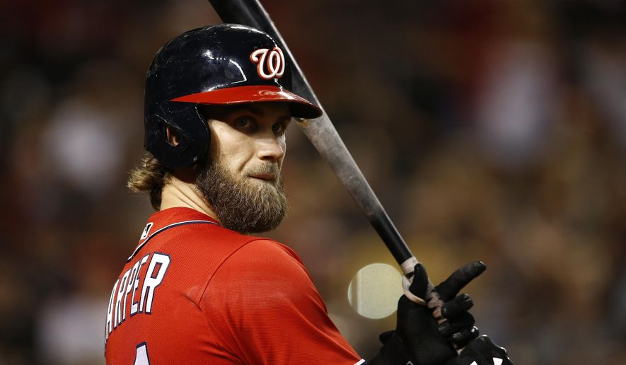 FILE - In this Saturday, July 22, 2017 file photo, Washington Nationals' Bryce Harper waits to bat against the Arizona Diamondbacks during the seventh inning of a baseball game in Phoenix. With Bryce Harper a year from free agency, the agent for Washington's star opened contract talk with the Nationals. (AP Photo/Ross D. Franklin, File) **FILE**