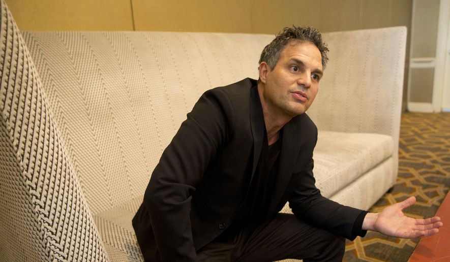 In this file photo, actor and environmental advocate Mark Ruffalo speaks during an interview in Atlanta, Dec. 8, 2017. (AP Photo/John Bazemore) ** FILE **