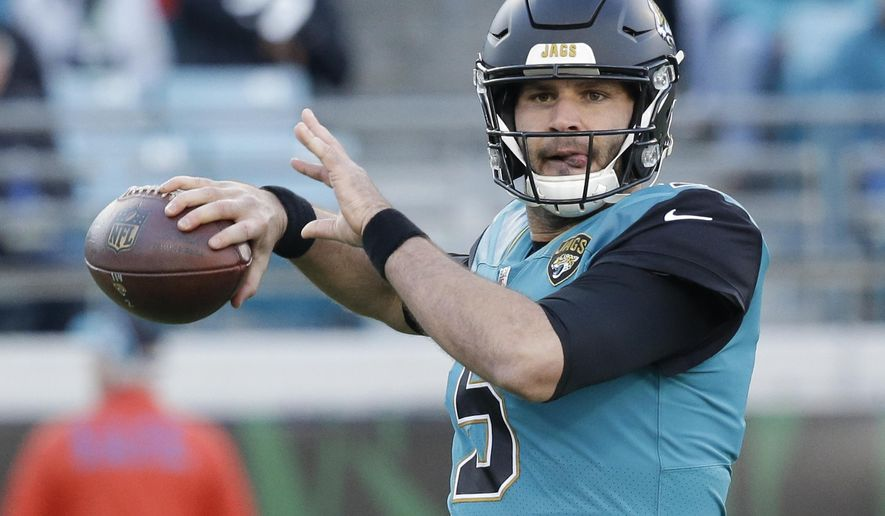 Jacksonville Jaguars quarterback Blake Bortles throws a pass during the first half of an NFL football game against the Seattle Seahawks, Sunday, Dec. 10, 2017, in Jacksonville, Fla. (AP Photo/John Raoux)
