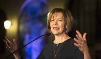 In this Jan. 10, 2015, file photo, Minnesota Democratic Lt. Gov. Tina Smith speaks to attendees at the North Star Ball in St. Paul, Minn. (Aaron Lavinsky/Star Tribune via AP, File)