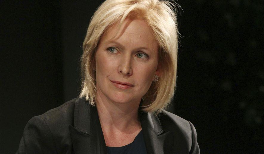 "In this June 2, 2011, file photo, Sen. Kirsten Gillibrand, D-N.Y., listens as she participates in a panel discussion during a ""Getting Women off the Sidelines"" event sponsored by Gillibrand's campaign committee in New York. (AP Photo/Tina Fineberg, File)"