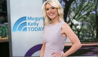 """FILE - In this Sept. 21, 2017 file photo, Megyn Kelly poses on the set of her new show, """"Megyn Kelly Today"""" at NBC Studios in New York. Kelly's show has a more substantive edge than when it started in September. Viewers have responded _ making Monday's show featuring women who accused Trump of inappropriate behavior one of her highest-rated ever despite being pre-empted for news coverage in New York. (Photo by Charles Sykes/Invision/AP, File)"""