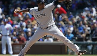 FILE - In this May 5, 2017, file photo, New York Yankees starting pitcher Michael Pineda throws against the Chicago Cubs during the first inning of an interleague baseball game, in Chicago. The Minnesota Twins have signed former New York Yankees starting pitcher Michael Pineda, Wednesday, Dec. 13, 2017, giving a two-year, $10 million contract to the right-hander recovering from Tommy John elbow ligament replacement surgery. (AP Photo/Nam Y. Huh, File)