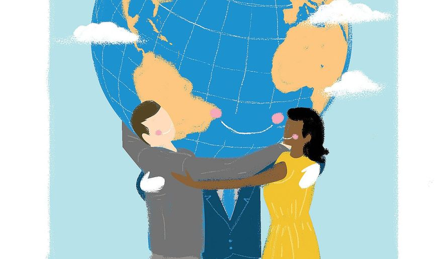 Illustration on global harmony by Linas Garsys/The Washington Times