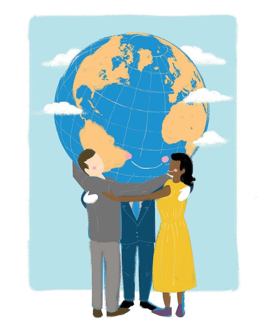 Illustration on global harmony by Linas Garsys/The Washington Times